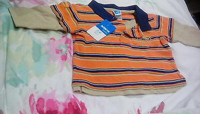 Adams baby boys 3-6 months polo shirt striped orange, navy blue and beige. New.