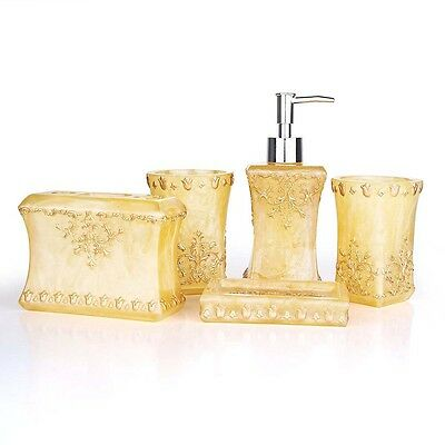 Pearl floral 5PCS Resin Bathroom Accessories Soap Dispenser/Toothbrush Holder SP