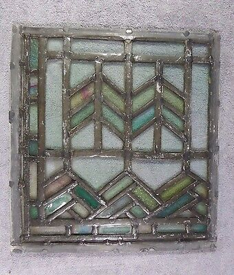 Antique Leaded Stained Glass Art Deco Parallelograms Window Panel D Ships Free!