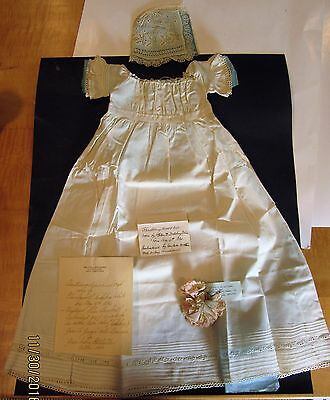 Antique Vintage Christening Dress And Bonnet With Letters Of Provenence 1800's