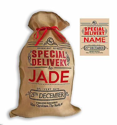 """Personalised Hessian """" Special Delivery """" Santa Christmas Present Sack"""