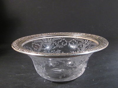 Sterling  Wallace FLORAL ETCHED GLASS & STERLING  CANDY  BOWL  #4801