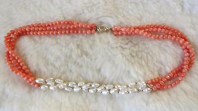 Vintage Round Coral Natural Baroque Pearl Triple Strand 9CT Gold Clasp Necklace