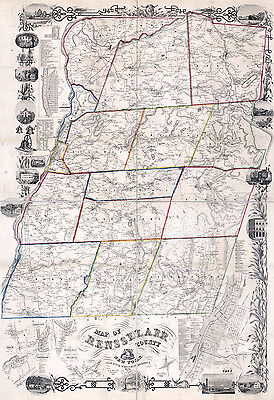 1854 Map of Rensselaer County NY from actual surveys Troy