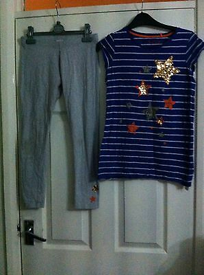 Next Sequin Star Trim blue stripe Top & grey Leggings Set Girls Age 12 Years