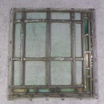 Antique Leaded Stained Glass Art Deco Parallelograms Window Panel F Ships Free!