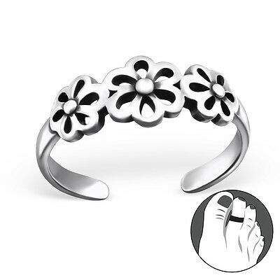 Triple Daisy Sterling Silver 925 Toe Ring Solid Silver Daisies Adjustable (W21)