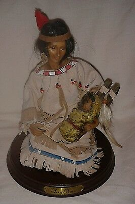 American Indian Squaw & Baby Statue By Regency Fine Arts