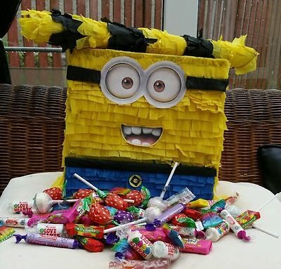 Minion Pinata with Sweets Birthday Party & Stick Can be personalised