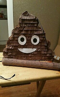 Poop Poo Emoji Emoticon Pinata filled with Sweets Birthday Party & Stick
