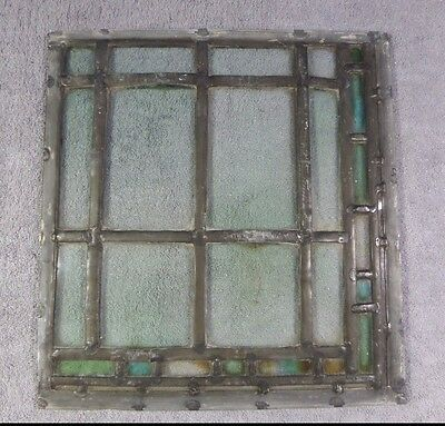 Antique Leaded Stained Glass Art Deco Parallelograms Window Panel G Ships Free!