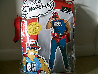 The simpsons Duff man muscle costume with cap and beer belt