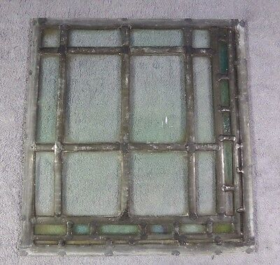 Antique Leaded Stained Glass Art Deco Parallelograms Window Panel H Ships Free!