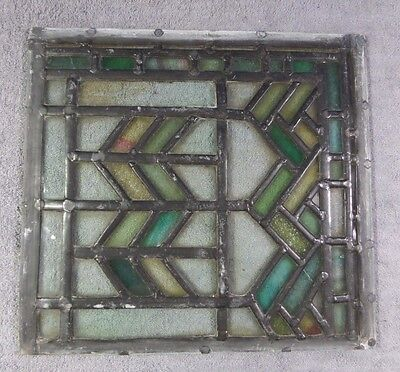 Antique Leaded Stained Glass Art Deco Parallelograms Window Panel I Ships Free!