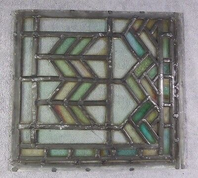 Antique Leaded Stained Glass Art Deco Parallelograms Window Panel J Ships Free!