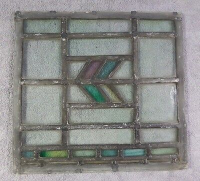 Antique Leaded Stained Glass Art Deco Parallelograms Window Panel K Ships Free!