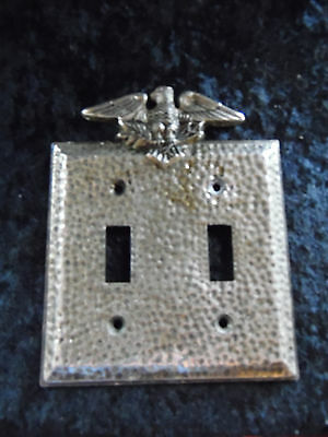 DoubleLightSwitch Plate Cover EAGLE Vintage Cast Metal Ant Brass Penncraft USA16