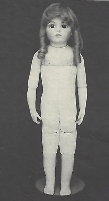 """24"""" Body)Antique Bru Jne 13 Muslin/leather/cloth Doll Jointed Body Pattern"""