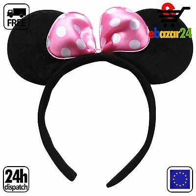 MINNIE MOUSE EARS WITH PINK BOW HEAD BAND FOR DISNEY FANCY DRESS Headwear *Envío