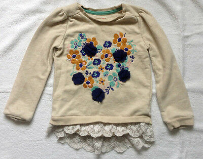 ~Tu~ Girls Beige Sweatshirt + Lace Hem~Applique Floral Design On Front~2 -3 Yrs~