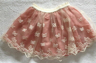~ F&f ~ Girls Tulle~Lace Skirt ~ Dusky Pink~Beige ~ Age 2-3 Yrs ~