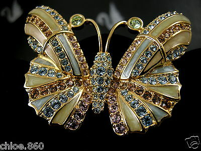 Signed Swarovski Pave' Crystal Butterfly Pin ~ Brooch Retired Newwith Tags
