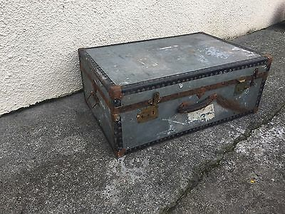 Vintage Grey Steamer Trunk Suitcase Coffee Table