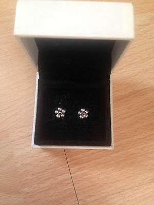 Pandora Flower Stud Earrings Silver & 14ct Gold