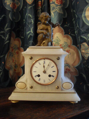 Brevet French antique marble cherub cupid mantle clock SPARES REPAIRS