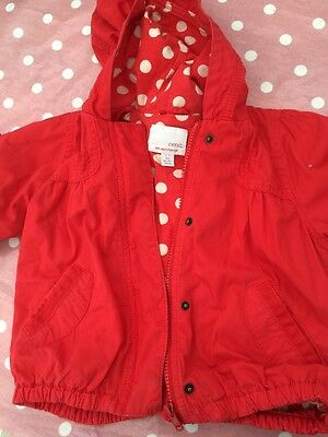 Little Girls Red Next Jacket With Hood Age 2-3 Years