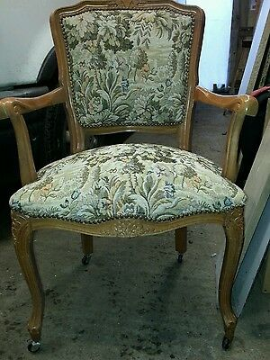 vintage tapestry chair carver style