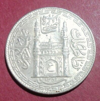 "India Hyderabad State - One Rupee - Year 1341 - ""xf"" Silver Coin - Doorway -Rare"