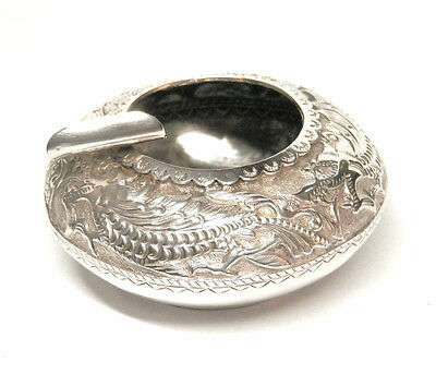 Antique Mohd Salleh & Sons Sterling Silver Dragon Personal Ashtray 26 Grams