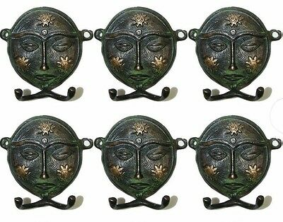 A Set of 6 Attractive Brass made Ethnic Indian Tribal Woman Face Coat Hooks IND