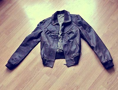 Real leather 1970s style brown bomber jacket (8, 10)
