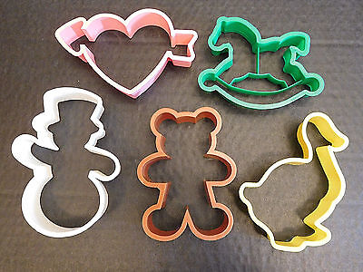 5 Hallmark Cards, Inc. Cookie Cutters: Duck Bear Snowman Heart Horse +Clovers