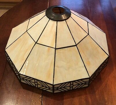 "Vintage Mission Arts & Crafts 15"" Slag Glass Lamp Shade Leaded Tiffany Style"