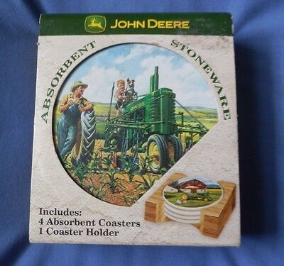 John Deere 4 Absorbent Coasters & Wood Holder Stoneware Cork Backing NEW