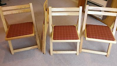 4 x foldaway pine wooden chairs with fabric covered seat pads - VGC