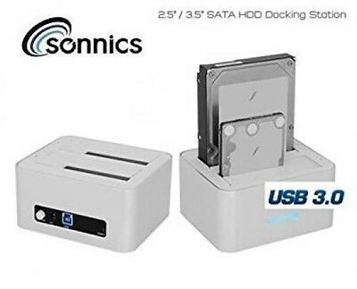 """Sonnics Dual Sata 2.5"""" & 3.5"""" HDD Hard drive Docking Station usb 3.0 with one to"""