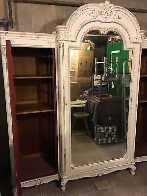 Large Vintage Painted Mirrored Armoire - Breaks Down!!