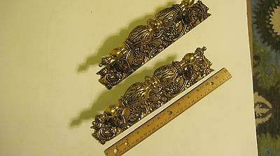 TWO(2) ORNATE TALL SOLID BRASS DOOR HANDLES. NEVER USED. 11.5 inches tall