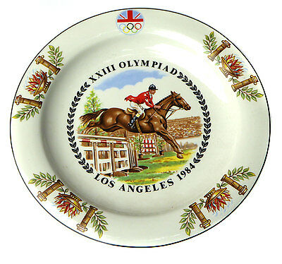 British Equestrian Team Souvenir Plate 1984 Los Angeles Olympics by Royal Tudor