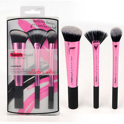 2016 Hot New Pink Real Techniques Makeup Brushes Core Collection Set 3Kit