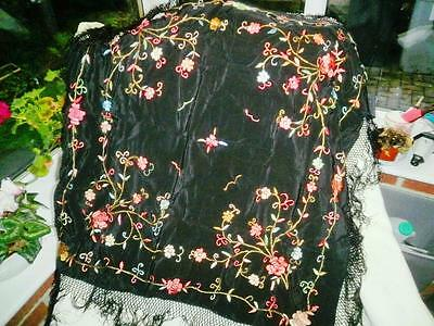 Lovely Black  Vintage  Piano Shawl   Embroidered With Floral Decoration