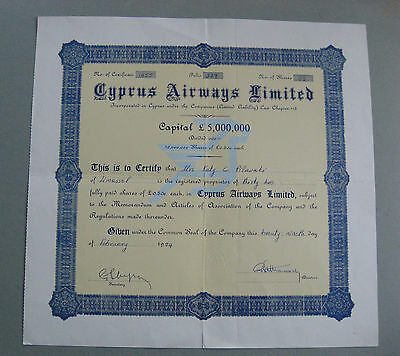 Cyprus Airways Limited Certificate for 32 shares of £1/2 each 1984
