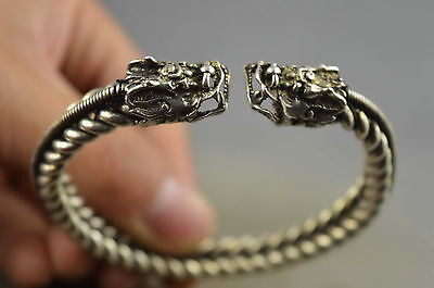 Collection Miao Silver Carve Double Dragon Head Exorcism Amulet Royal Bracelet
