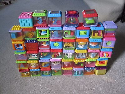Lot 45 Peek a Boo Plastic Blocks Fisher Price Mixed letters,animals+sensory