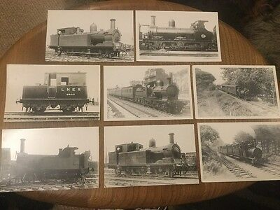 8 x black and white railway photographs/postcards