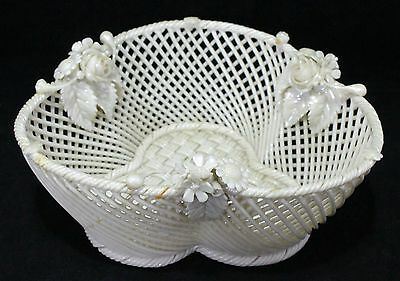 Reticulated Belleek Basket With Applied Florals